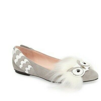 BRAND NEW Kate Spade Nora Suede & Faux Fur Snowy Owl Flats size 7 with box