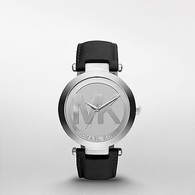 Michael Kors Women's MK Logo Runway Silver Tone Black Leather 38mm Watch MK2458