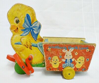 VINTAGE FISHER-PRICE WALKING DUCK WITH CART PULL TOY