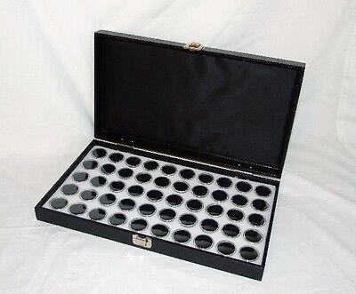 Traveling Wood Display Case With 50 Blk Gem Jars White Foam