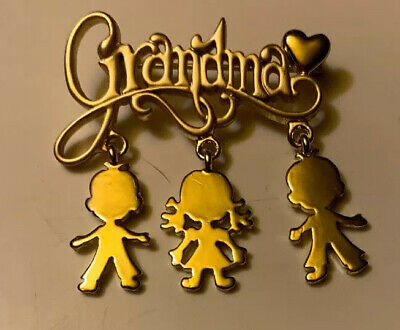 Costume Ideas Boys (Grandma Goldtone Pin Brooch Two Boys One Girl Danecraft Gift Idea For)