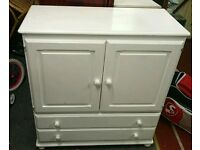 Cupboard with 2 drawers. Bedroom cupboard, chest. Solid wood, painted white. Solid wood shelving
