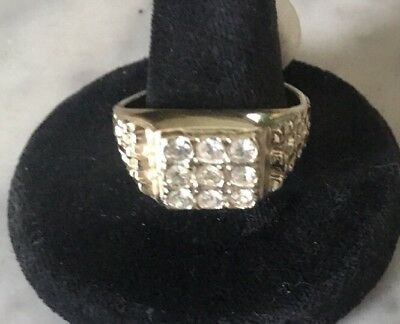 MEN'S 18KT H.G.E. Cubic Zirconia RING Statement Pave Cocktail Band Vintage 12.75