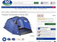 4 Man Tent & Electric Hook-up - almost new - BARGAIN £75