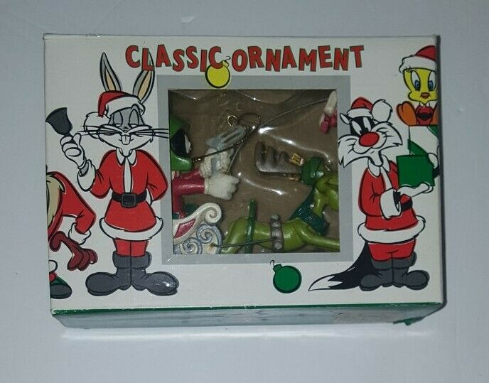 Vintage LOONEY TUNES Marvin the Martian and K-9 Christmas Ornament 1995