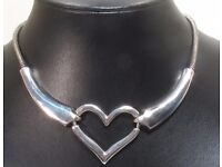 NEW Ladies Jewellery Statement Heart Choker Necklace on Snake chain