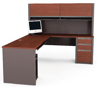 Bestar Connexion L Shape Office Desk W Hutch In Bordeaux Slate