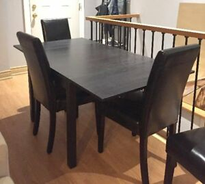Dining Set - Extendable Table + 4 Leather chairs