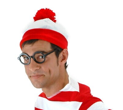 Red And White Costumes (Where's Waldo Licensed Red and White Costume Pom Beanie Hat, NEW)