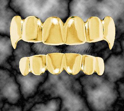 14K GOLD GP Dracula HipHop Vampire FANG Teeth GRILLZ Caps Top & Bottom SET!*2ND*](Vampire Teeth Caps)