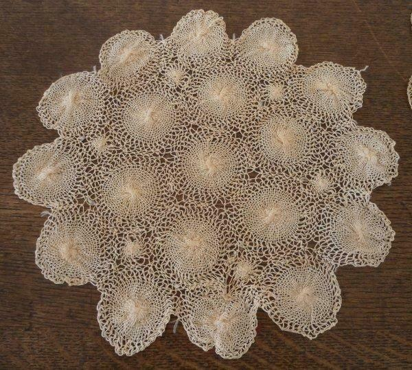 4 Vintage Tenerife Lace Doilies Set Cotton Hand Made Spanish Rounds