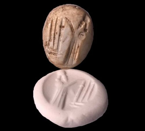 Ancient White Stone Neo-Babylonian Stamp Seal of King/Priest Sacrificing- Choice