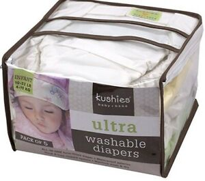 Kushies Ultra Washable Diapers 5 pack Brand New 4-10 lb.