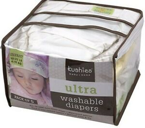 Kushies Ultra Washable Diapers 5 pack Brand New 22-45 lb.
