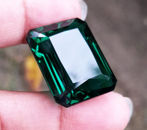 23x19 mm. 36.40ct. OCTAGON GREEN EMERALD Top Created Gems EXCELLENT CUT