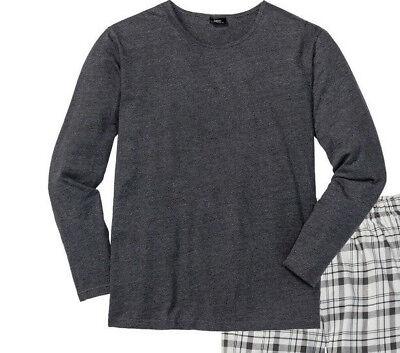 Herren Pyjama-Shirt  in antrazit  Gr. 44/46 - Neu