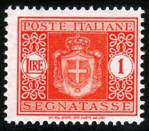 REGNO-D-039-ITALIA-SEGNATASSE-STEMMA-SABAUDO-CON-FASCI-Lire-1-Arancio-1934