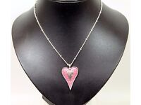 NEW Ladies Jewellery Statement Necklace Pink Enamel And Silver Heart Pendant