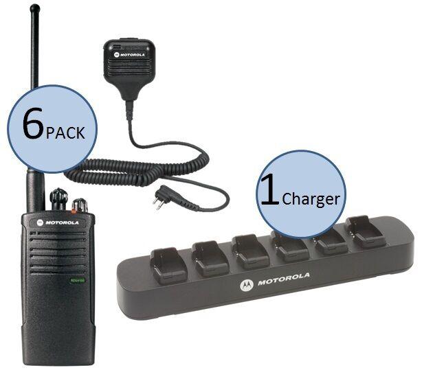 6 Motorola Rdu4100 Two Way Radios With Speaker Mics & 6-bank Charger