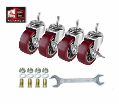 New 2 Inch Swivel Caster Wheels Set Of 4 Red