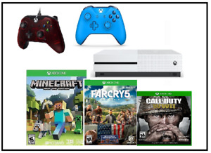 Xbox one with  games WW1,farcry5,minecraft and 2 controllors