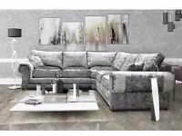 Brand new crushed velvet Tango sofa collection****UNIVERSAL CORNER SOFAS IN TWO COLOURS ***3+2 SETS