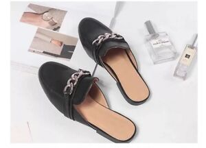 Women loafer slip on flat casual shoes leather size 6.5