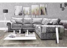 SALE PRICES ***Brand new crushed velvet corner sofas, also available as a 3+2 set