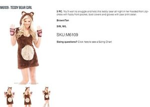 Teddy Bear Girl (size M/L), ONLY $35