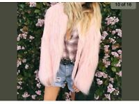 New- winter warm out coat fur jacket -pink L- size 12