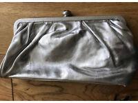 C leather silver Faith clutch brand new