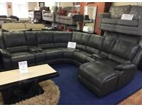 Martsen Dark Grey Faux Leather Corner Sofa Suite with Recliner and Cup Holder BRAND NEW