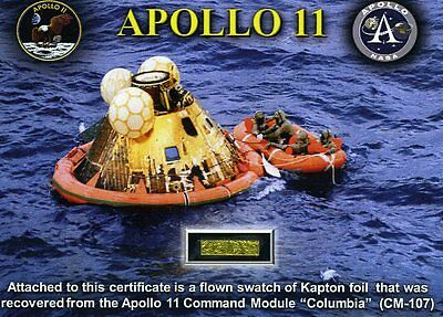 Apollo 11 - Piece of Gold Kapton Foil From the Command Module Flown to the Moon