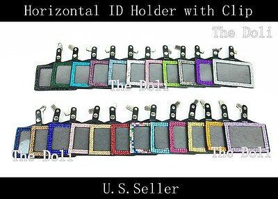 Multi-Color Horizontal Rhinestone ID Badge Holder with Alligator Clip - Badge Holder With Clip