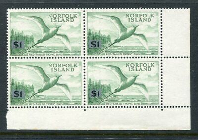 NORFOLK ISLANDS 1966 BIRD $1 MNH BLOCK x4 Stamps
