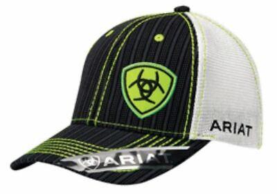 Ariat Western Mens Hat Baseball Cap Mesh Pinstripe Logo One Size Green 1594001