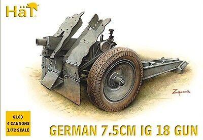Plastic Toy Soldiers HAT 1/72 German 7.5cm IG18 Gun (4) 8163. (Hat Toy Soldiers)