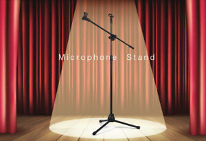 Microphone Stand with Dual 360° Rotating Mic Clip & Foldable Tri