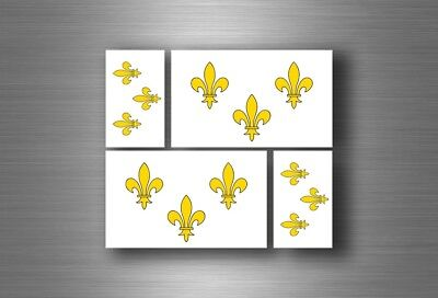 4x sticker flag car french king decal bumper vinyl adhesive france fleur de lis (French Flag Bumper Sticker)