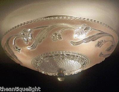 468z Vintage 40's 50's Ceiling Glass Light Fixture Chandelier pink  Flush Mount