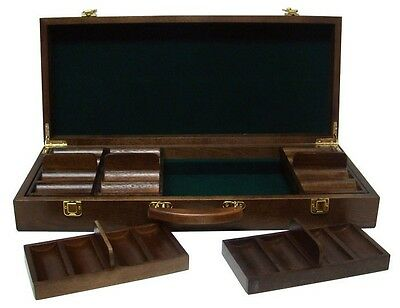 500 Ct Walnut Wooden Chip Storage Case Poker Casino - Chips Not Included