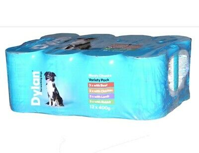 Dylan Meaty Chunks Variety Pack for Working Dogs Wet Dog Food Cans - 12 x 400g