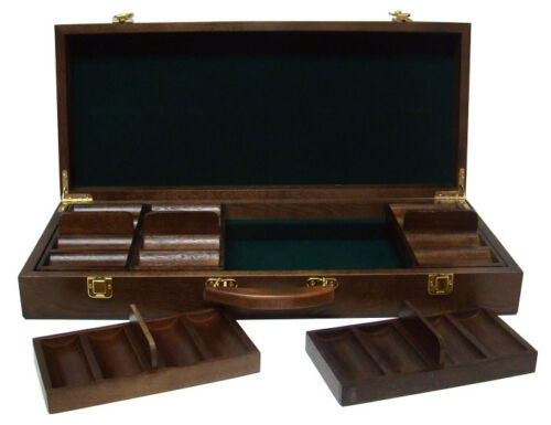500 Count Walnut Wooden Poker Chips Set Storage Case New