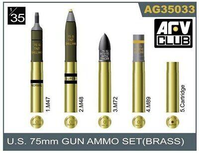 Afv Club Ag35033 1/35 Ee.uu 75mm Gun Ammo Set Latón Nuevo