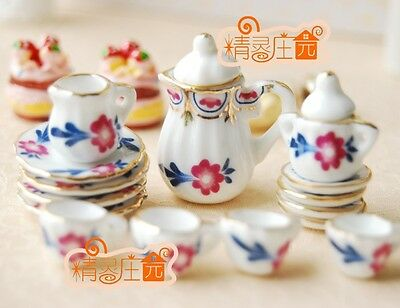 Dollhouse Miniature 17pcs Porcelain Pink FLORAL Dinning WARE COFFEE Tea cup Set