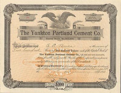 The Yankton Portland  Cement Co. > 1893 Chicago Illinois stock certificate share