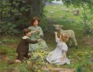 Children in meadow picking flowers, Lamb Arthur J. Elsley