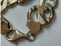 Gents gold-plated silver kerb chain approx 7.5inch, stamped 925 as pictured.