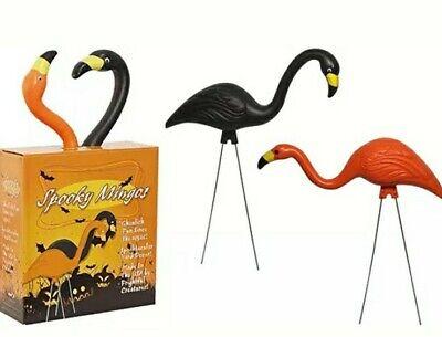 Spooky Mingos Halloween Flamingo Plastic Blowmold Lawn Decor Ornament NEW