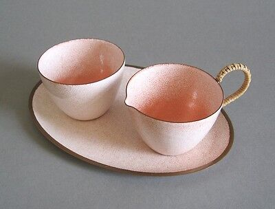 Emaille Milch + Zucker Set 50er Jahre mid century Design Bunge Schibensky Era